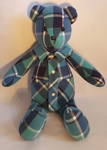 04 - BearyHuggables_ blue and green flannel pattern memory bear