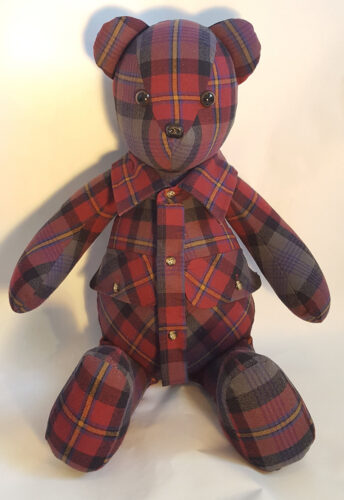 05 - BearyHuggables_red flannel pattern memory bear