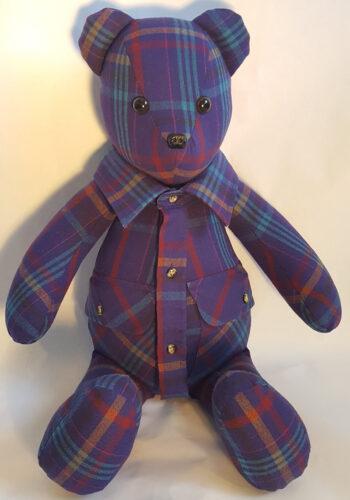06 - BearyHuggables_Purple flannel pattern memory bear