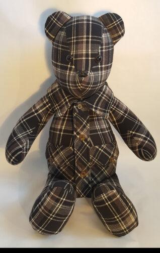 07 - BearyHuggables_Brown flannel pattern memory bear