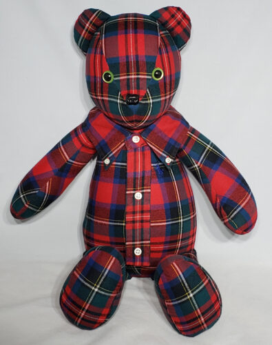 14 - BearyHuggables_Red flannel with green eyes memory bear