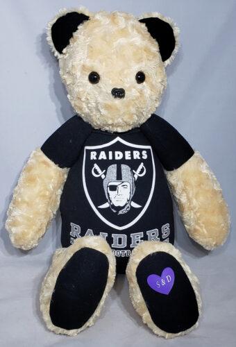 15 - BearyHuggables_Raiders with love initials memory bear