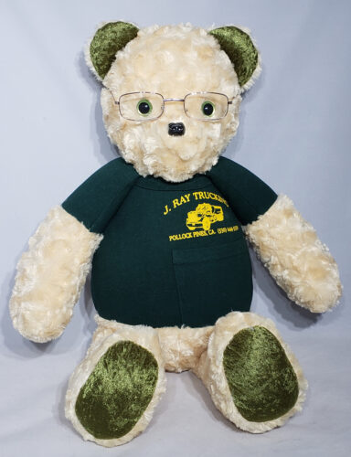16 - BearyHuggables_Trucker with green eyes and glasses memory bear