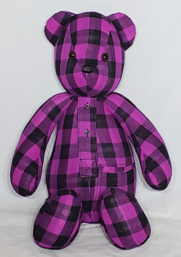 18 - BearyHuggables_Pink and Black flannel memory bear
