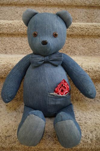20 - BearyHuggables_Denim with red bandana memory bear