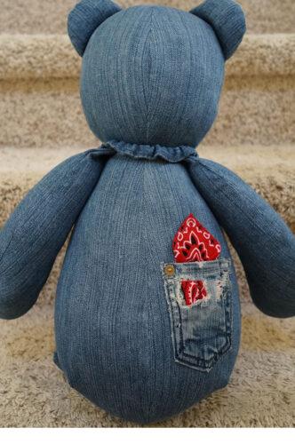 21 - BearyHuggables_Denim with red bandana back memory bear