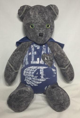 22 - BearyHuggables_Sports tshirt and green eyes memory bear