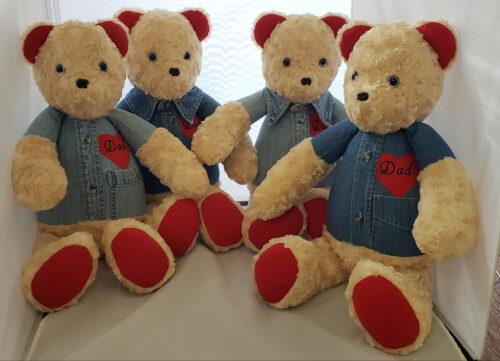 27 - BearyHuggables_sibling set of four Dad memory bear