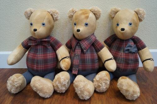 29 - BearyHuggables_sibling set of three flannel shirt memory bear