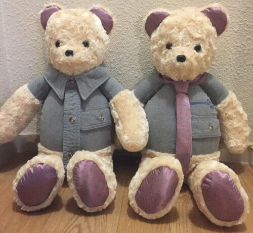 31 - BearyHuggables_set of two with blue shirt memory bear