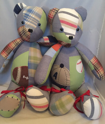 32 - BearyHuggables_set of two withsports theme and different fabrics memory bear
