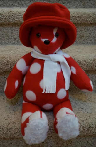 Christmas bear with hat and scarf
