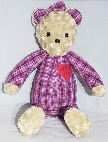 47- Beary Huggables_Plaid memory bear with hair bow