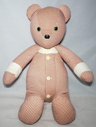 54- Beary Huggables_Red & White checker memory bear