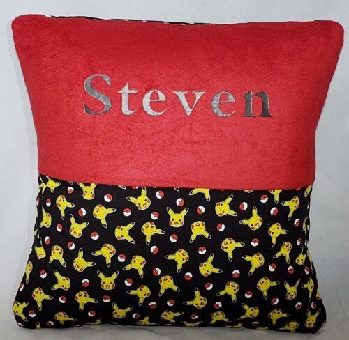 67-Beary Huggables_Divided Design Red & Black Pillow