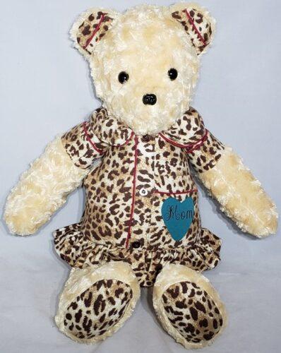 81-Beary Huggables_Leopard Dress Bear w/ Heart