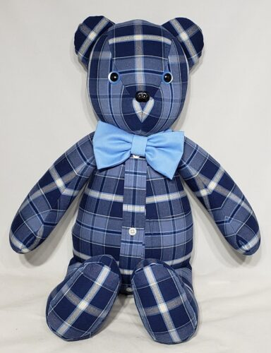 83-Beary Huggables_Full Plaid Bear with Button Strip & Bow Tie